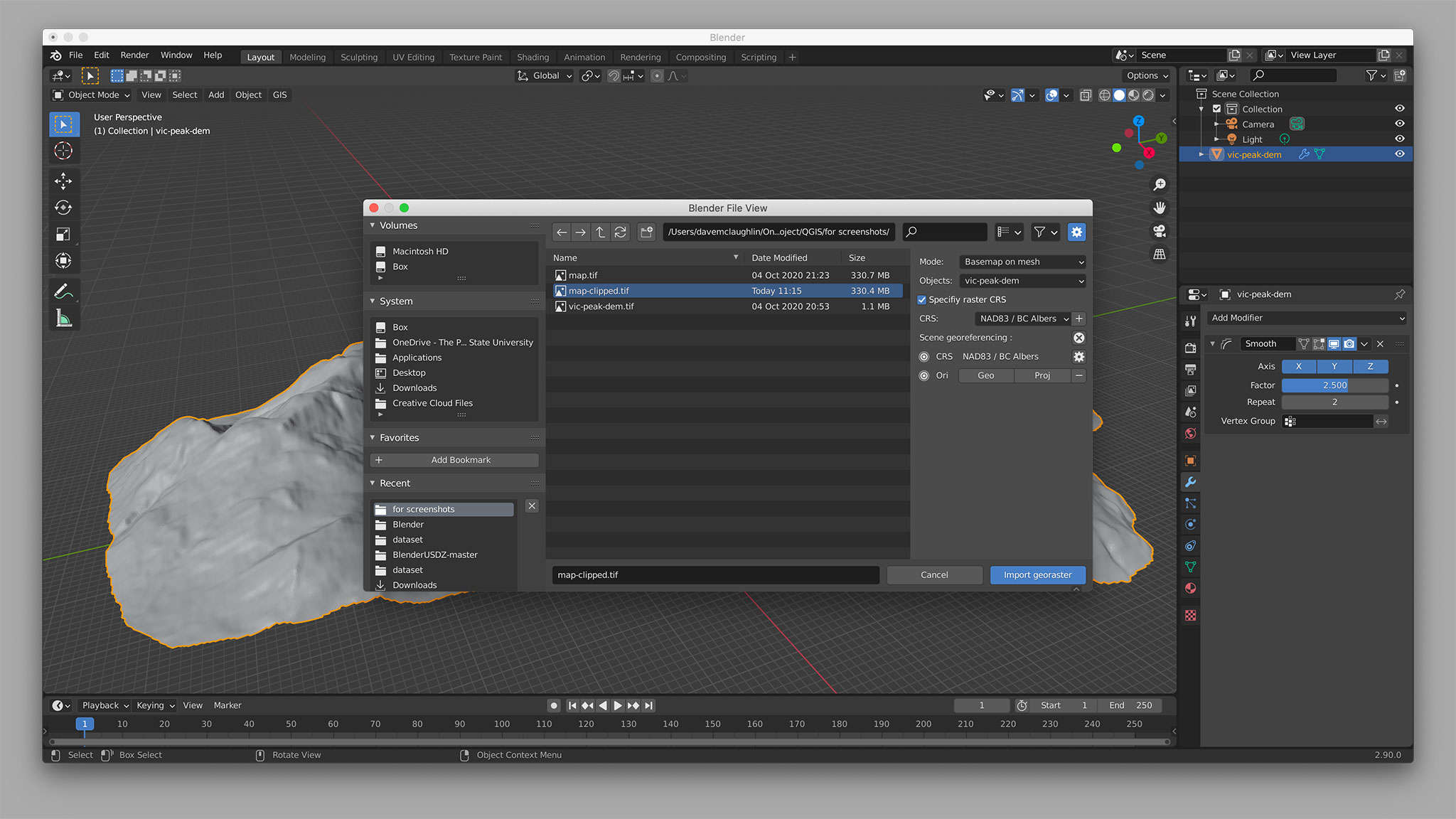 Importing the map TIFF in Blender