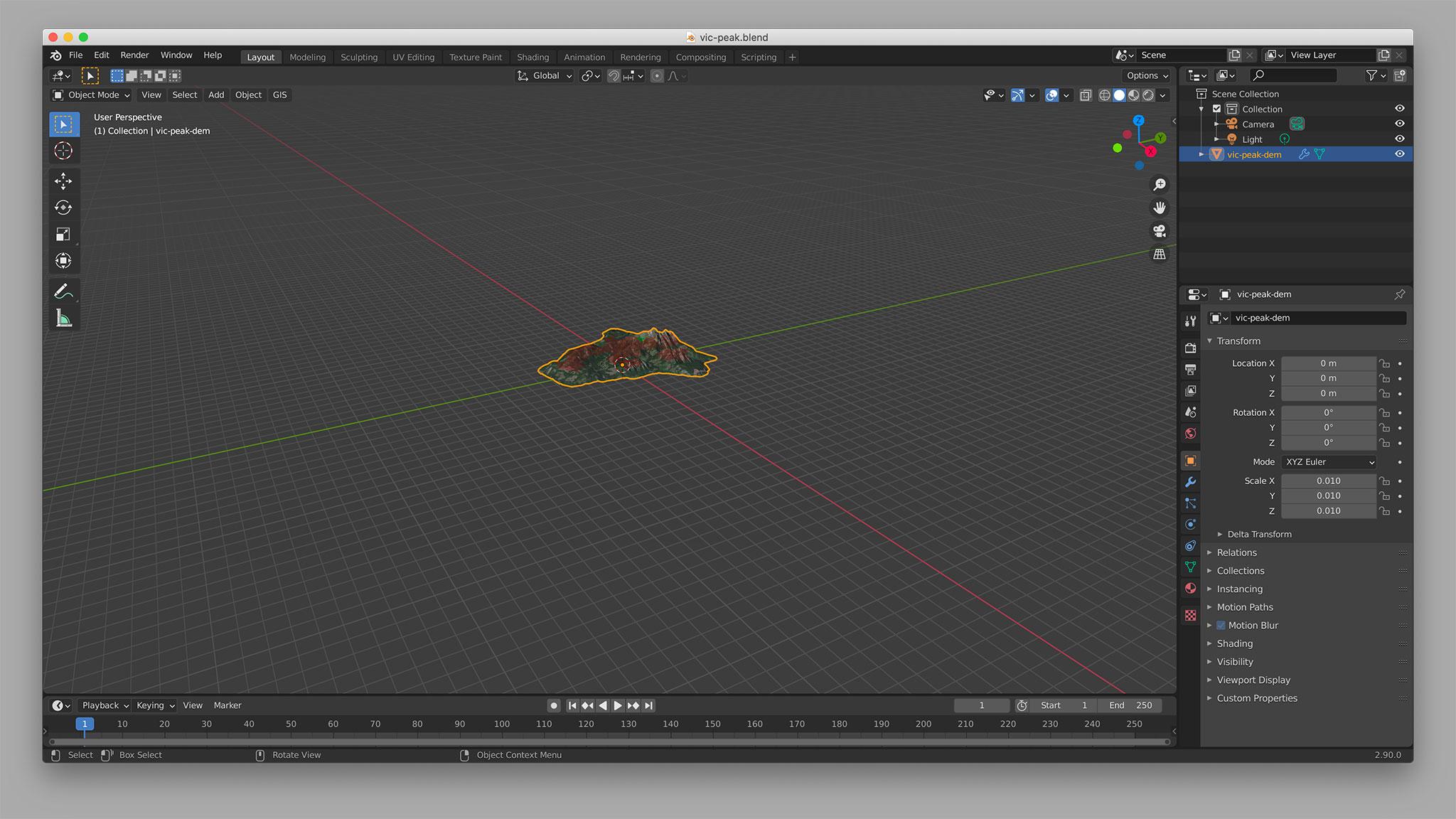 Scaling the model in Blender