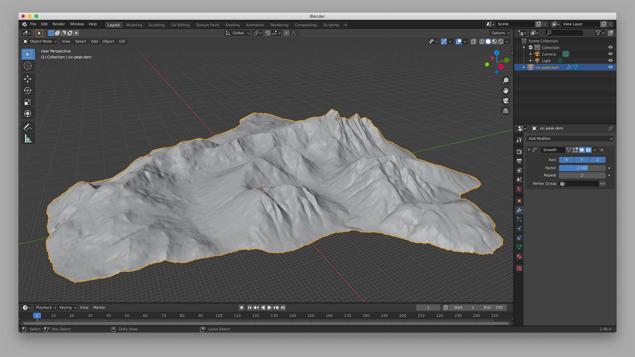 Applying a Smooth modifier in Blender