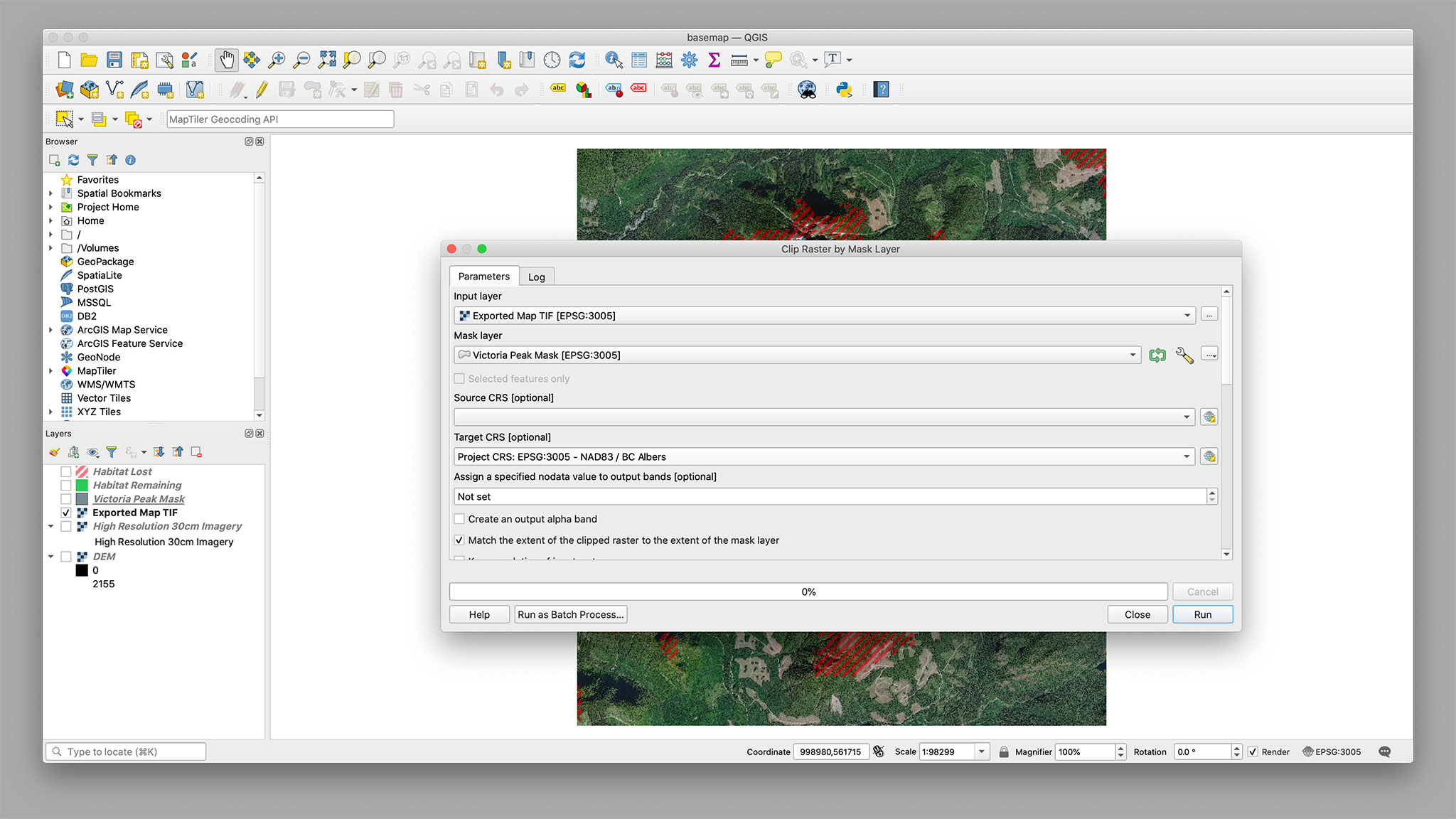 Clipping the map TIFF in QGIS