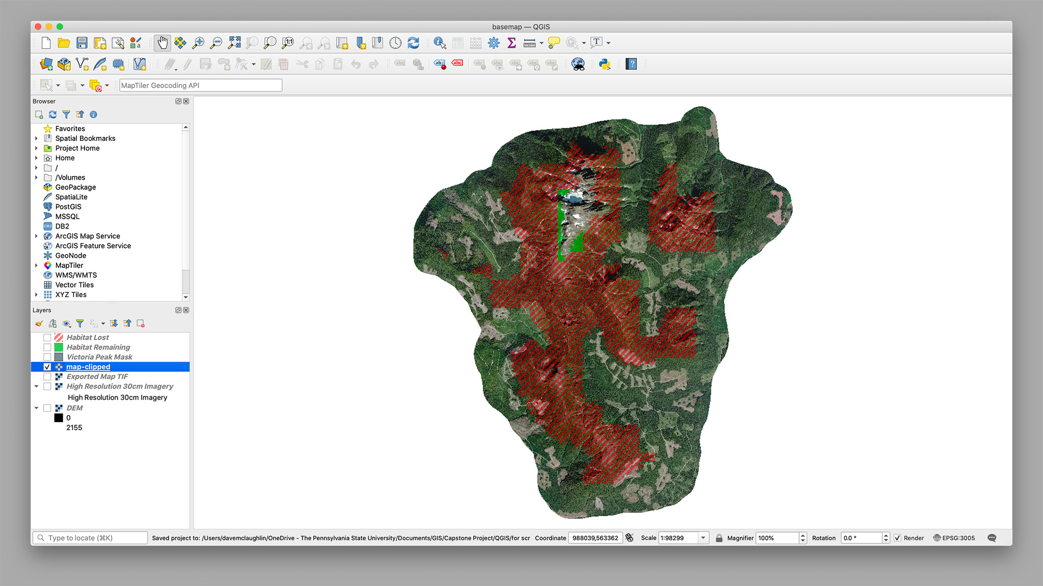 The clipped TIFF in QGIS