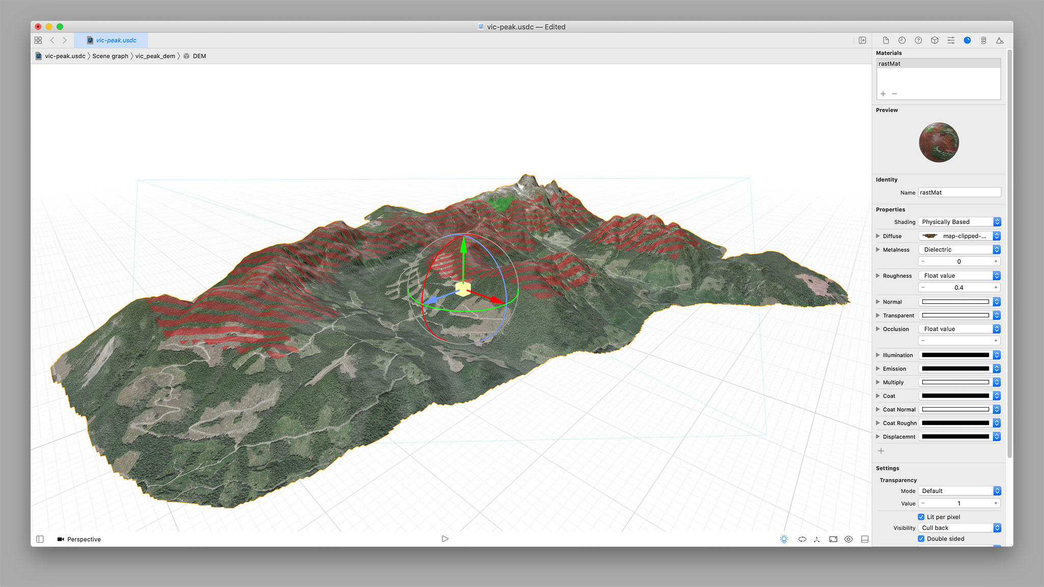 Viewing the model with the map back on it in Xcode