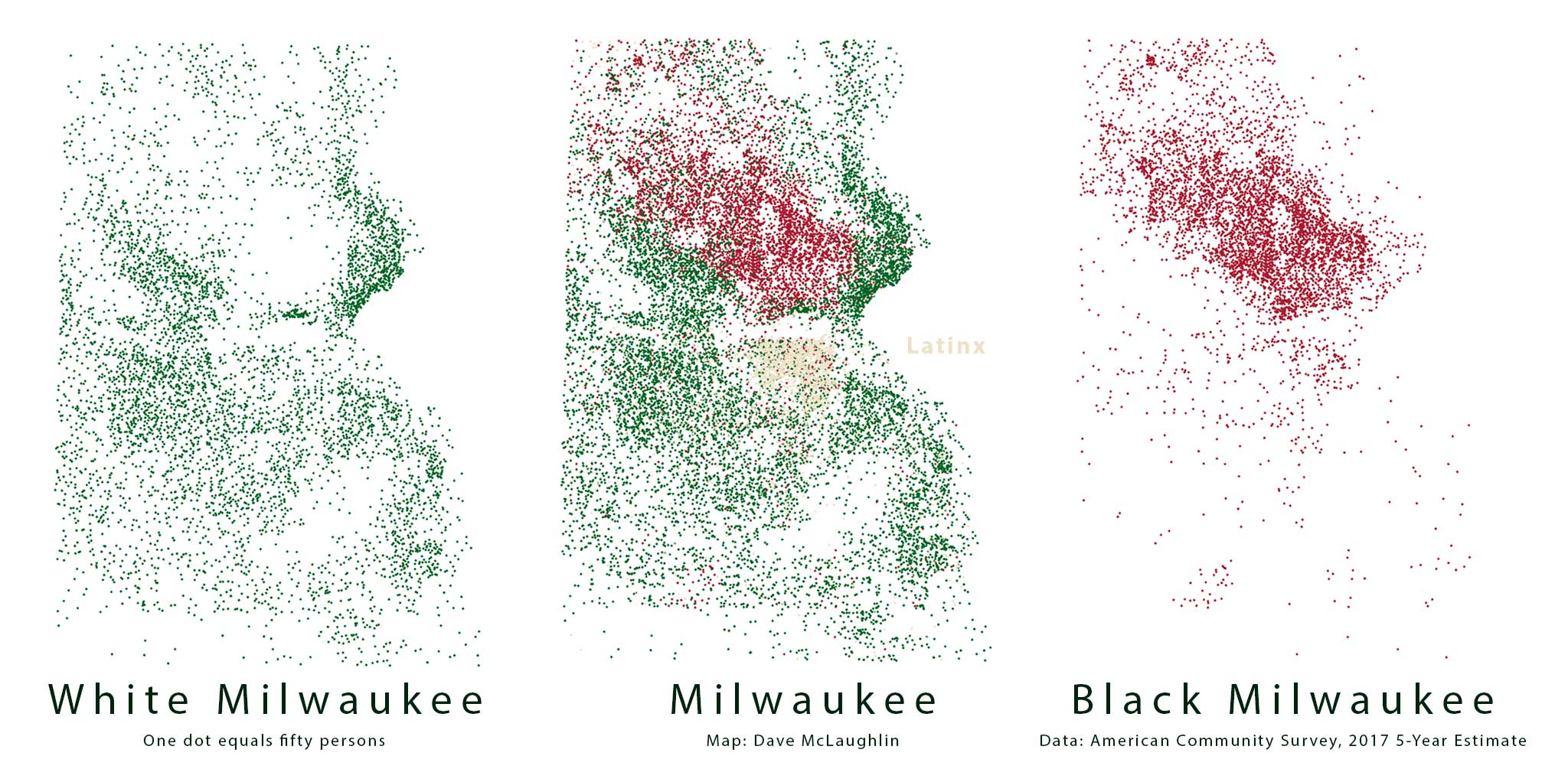 Three maps of Milwaukee, showing the white and black populations, as well as the three major racial groups together.