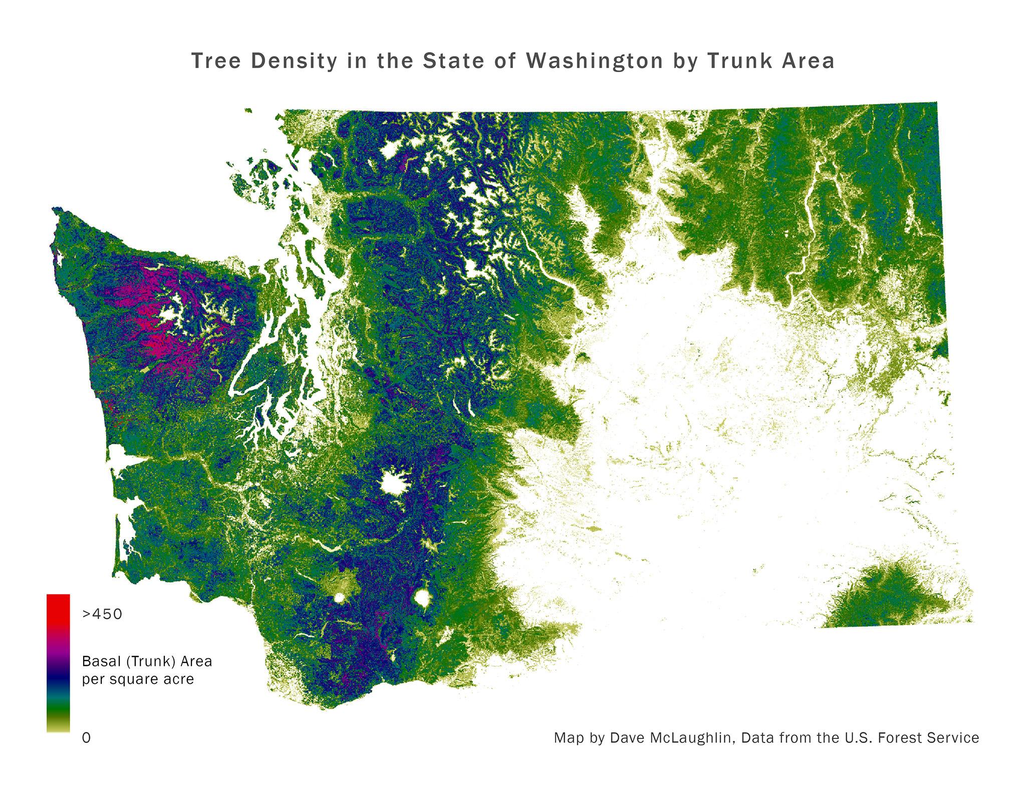 Map of tree density in the State of Washington.