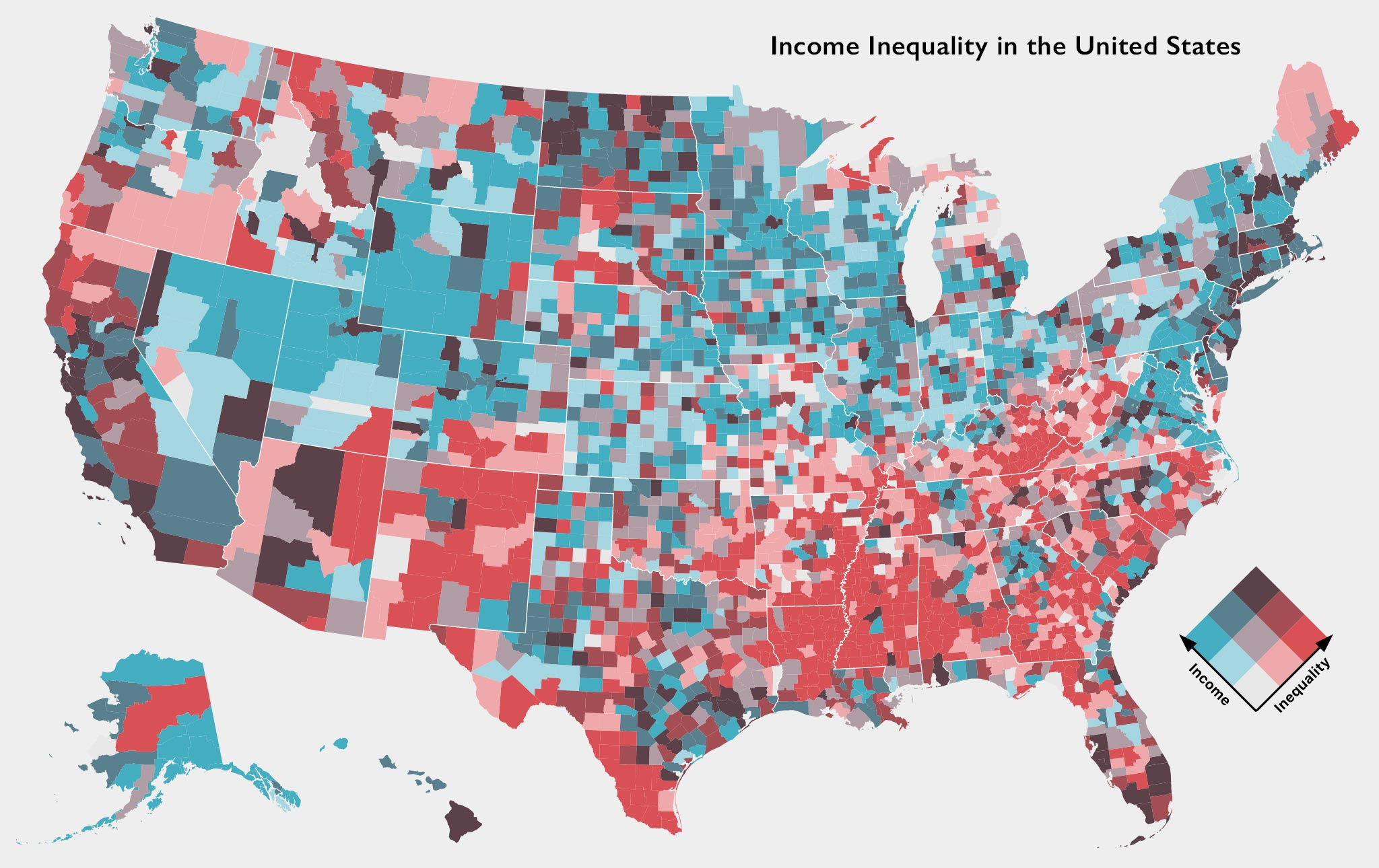 Income Inequality In The Us Davemapscom - Income-map-of-us